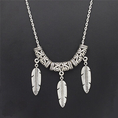 Handmade Antique Silver Feather Pendant Necklace Boho Vintage Feather Jewelry