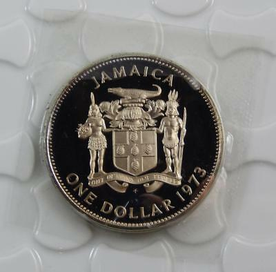 Jamaica 1973 GEM Proof $1 One Dollar Coin Bustamante Mint Sealed C0517