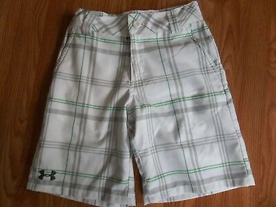 Boys Under Armour Youth Small White Gray Green Plaid Shorts Adj. Waist Shorts
