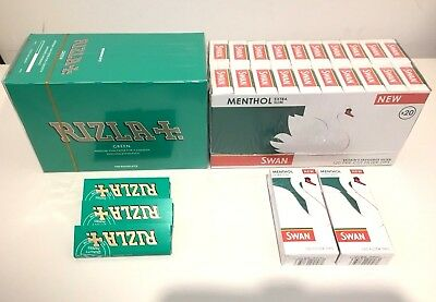 600 Rizla Green Rolling Papers & 600 Swan Menthol Extra Slim Filter Tips