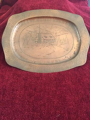 Antique Arts and Crafts Hand Hammered Hand Decorated Copper Tray