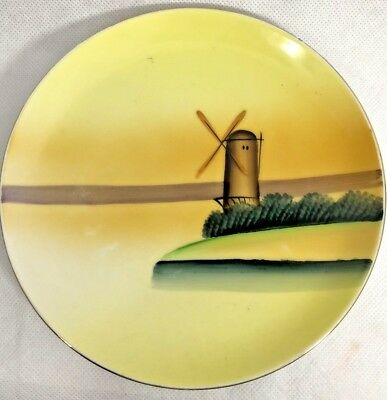 Antique Hand Painted Meito China Plate Yellow With Windmill On Lake 6 Inches