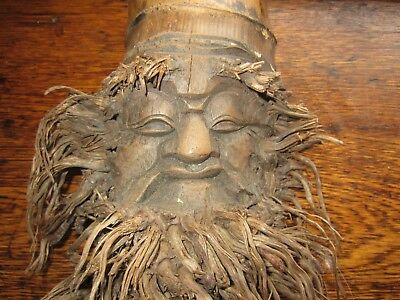 Vintage Bamboo Root Carving Carved Mask Wall Hanging
