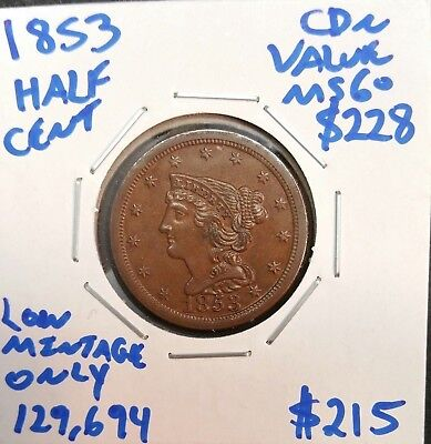 1853 1/2C Braided Hair Half Cent in MS UNC Mint State Uncirculated Condition