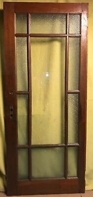 FIXED!!! Antique 11 Pane Wood Interior French Door /w Frosted Glass & Hardware!