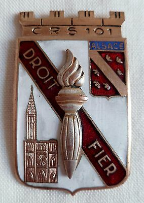 Insigne Obsolète CRS 101 STRASBOURG 1945 POLICE NATIONALE France FRENCH BADGE