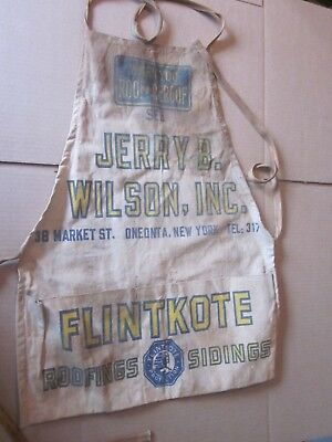 Vintage Jerry B. Wilson Oneonta NY Roofing canvas apron Flintkote Roofing Siding
