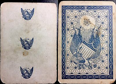 c1862 Authentic Civil War Military Soldier Used Union Playing Card Rare Single