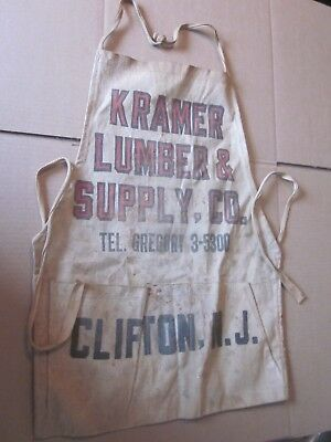 Vintage Kramer Lumber & Supply Co. Clifton, NJ canvas apron