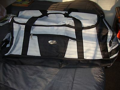 Bella Russo Duffel Large Collapsible Polyester Luggage with Wheels Gray Black