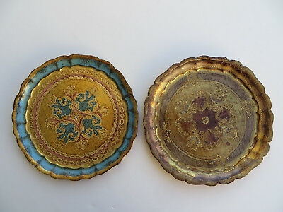 VINTAGE CHIARUGI FIRENZE HAND MADE WOODEN TRAYS (Set of 2)