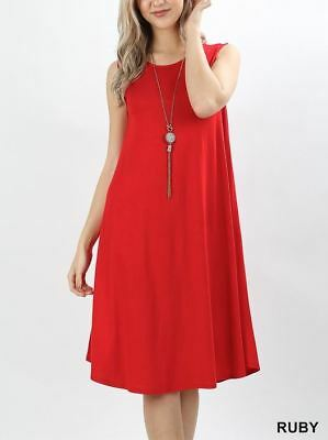 Viscose Pocketed Sleeveless Knee length Spring Dress VD-7000