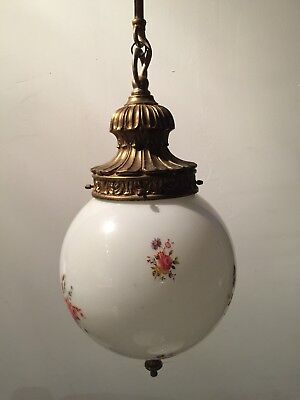 Vintage White Floral Motif Ball Pendant Ceiling Light  - Ornate Brass Gallery