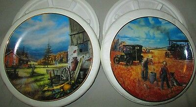 Danbury Mint Collectible Plates Great Christmas Gift~ 2 Farming Detailed Plates