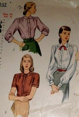 """VTG 1940s Printed Simplicity Sewing Pattern Secretary Blouse Bust: 32"""""""