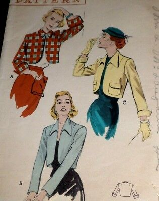"""VTG 40s Butterick Sewing Pattern Unique Cropped Jacket Bust: 34"""""""