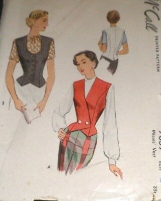 1940s VTG Sewing Pattern McCall Vest 2 Styles Bust 34 FF Printed