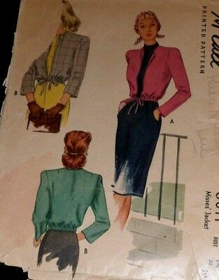 """VTG 1940s McCall 6011 Sewing Pattern Womens Jacket Bust: 32"""""""
