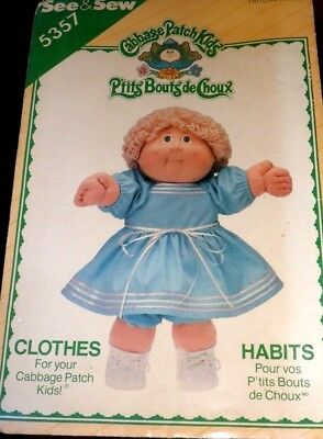 VTG 1985 Cabbage Patch Dress Doll Sewing Pattern 5357