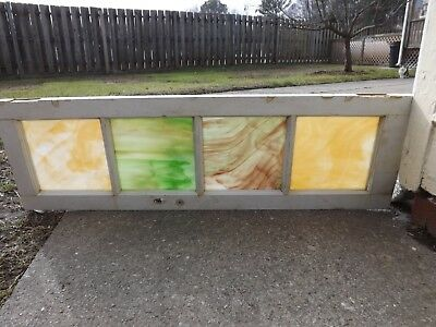 Antique Stained Glass Window Transom Slag Queen Ann Vintage Salvage 1900