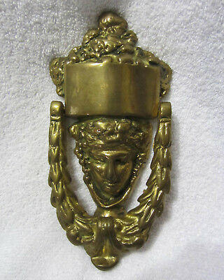 "Vintage Brass Door Knocker Face Head Architectural Hardware Salvage 4"" x 8"""