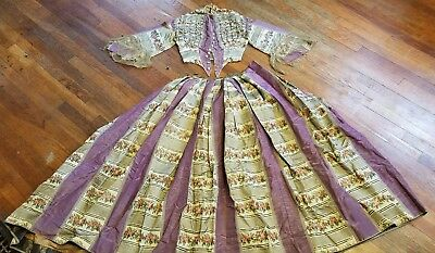 Antique 1850's Floral Silk Gown Huge Skirt Marble Buttons Poor Condition Repurp