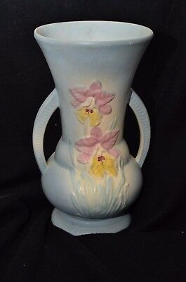 Hull Orchid Large Vase 301-10 Light Blue with Pink and Yellow Orchids