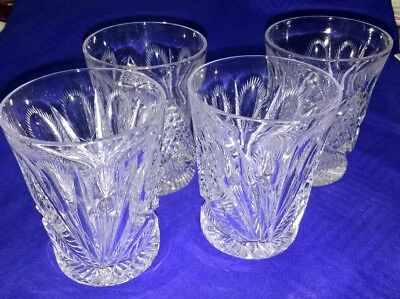 """Set of 4 Antique ABP Signed Libbey American Brilliant Cut Glass Wheat 4"""" Tumbler"""
