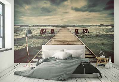 Jetty Wooden Storm Sea Photo Wallpaper Wall Mural (FW-1016)