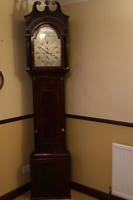 longcase clock George III mahogany case silver dial signed Jackson Bristol d1798