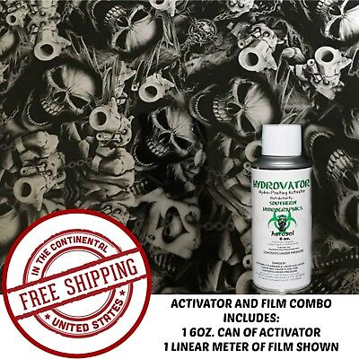Hydrographic Film Water Transfer Hydro Dip 6Oz Activator With Gangsta Skulls Kit