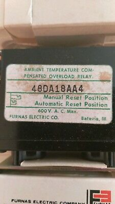 Relay, Furnas, 48DA18AA4, Bi-Metal Overload, 600 v/volts, 25 a/amps,