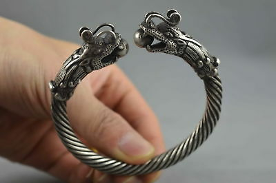 Chinese Collectable Handwork Miao Silver Carving Roar Dragon Noble Rare Bracelet
