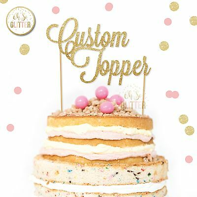Custom cake topper personalised name birthday decoration glitter sign any word