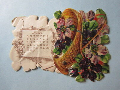 Antique Ad Calendar 1892 or 1904 Ullman & Co. Tailors, Chicago, die-cut, Violets