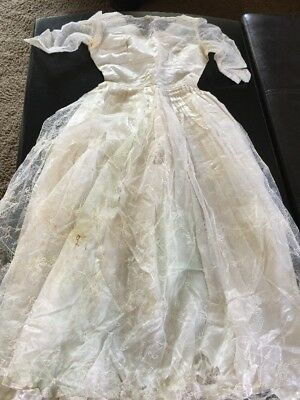 Vintage Wedding Dress For Parts Cleaning Repair DIY  XS/ Small