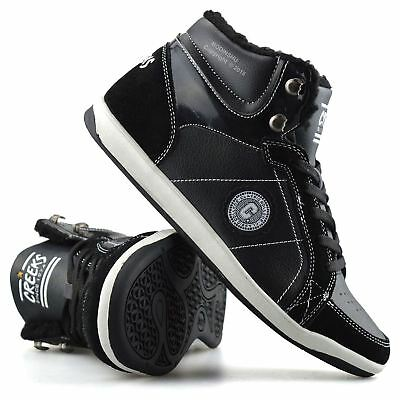 Boys Girls Leather Warm Lined High Top Sports Trainers Ankle Boots Shoes Size
