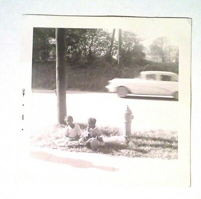 Vintage 1955  2 African American Girl Sitting By The Curb 3 1/2 x 3 1/2