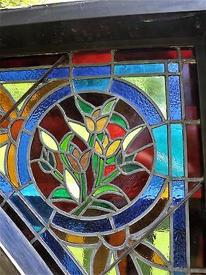 Vintage Stained Leaded Glass Window Storefront Industrial Plate Floral Aluminum