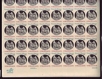 At Face! #1753 French Alliance. Mint Sheet. F-Vf Never Hinged.