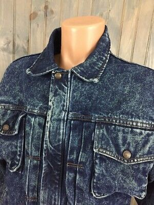 VINTAGE MEN'S LEVI'S DENIM FULL ZIP Made In USA JACKET Small Stone Wash