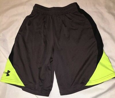 Youth Boys Medium M YMD Under Armour UA Gray black yellow active  Shorts
