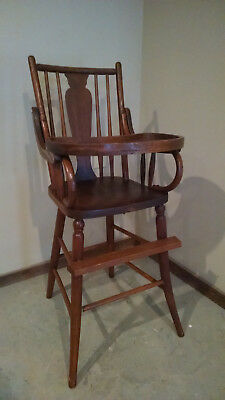 antique high chair Child brown wooden vintage good condition