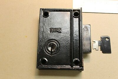 Antique Vintage Heavy Duty Russwin Dead Bolt Rim Lock with Key