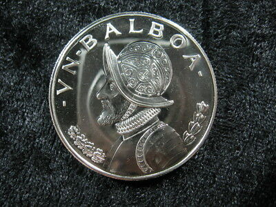 1 large old SILVER proof coin PANAMA Un 1 Balboa 1969 KM27 Conquistador FREE S&H