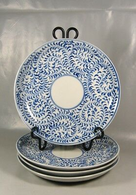 "Home VIETNAM 9"" Porcelain Hand-Painted Blue Scroll White Salad/ Dinner Plates"