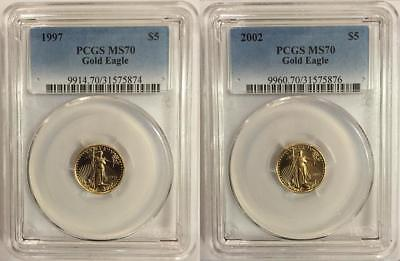 1997 & 2002 $5 Gold Eagle Pcgs Ms70  2 Coin Set