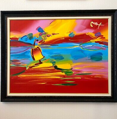 "Peter Max ""Stormy Sail"" Original Acrylic On Canvas 36"" x 48"" Custom Frame"