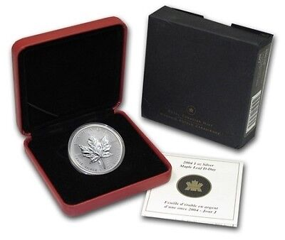 2004 Canadian $5 Maple Leaf w/D-Day Privy Mark S1 oz Silver w/COA