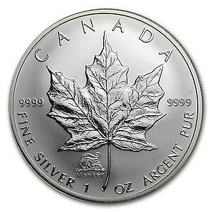 2004 Canadian $5 Maple Leaf w/Monkey Privy Mark 1 oz Silver w/COA